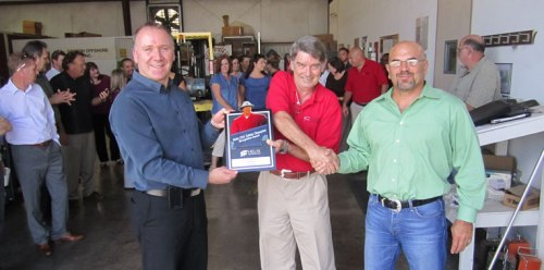 Vice President QHSE Wallace Robertson (right) awarding ROV Superintendent Ian Mason(center) with the Safety Champion Award along with Senior VP Canyon Offshore David Tucker (right).